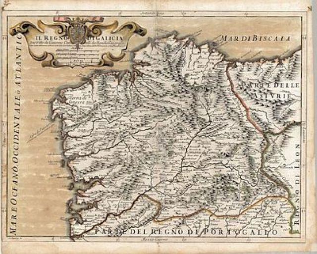 O gran mapa do Reino de Galicia de 1696 trazado en Módena por Giacomo Cantelli
