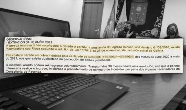 """""""Ten vostede un cobro indebido"""": así reclama a Xunta miles de euros da Risga a persoas sen recursos co IMV concedido"""